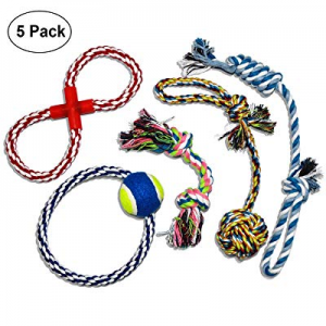 40.0% off ELUTONG Dog Rope Toy 5 Pack Set Durable Chew Rope Toys Teeth Playtime Cleaning Toys for ..