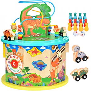 Amagoing Dinosaur Activity Cube now 15.0% off , Baby Educational Toys Wooden Activity Center Bead ..