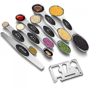 Magnetic Measuring Spoons Set now 15.0% off , Dual Sided, Stainless Steel, Fits in Measuring Dry a..