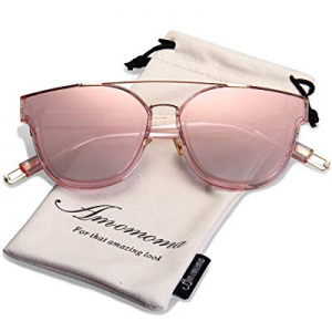AMOMOMA Fashion Oversized Mirrored Sunglasses for Women Double Bar Shades AM2028 now 70.0% off