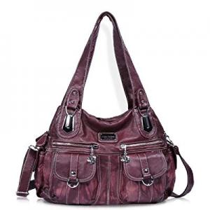 Angel Barcelo Women Top Handle Satchel Handbags Shoulder Bag Messenger Tote Washed Leather Purse n..
