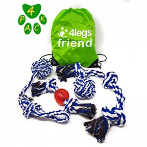 4LegsFriend Tug of War Toy Set for Aggressive Chewers - 4 Pack Ropes for Medium and Large Dogs and..