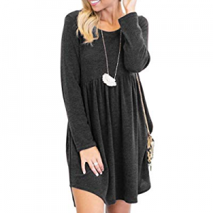YOMISOY Womens Long Sleeve Tunic Dresses Casual Crewneck Swing Loose Shirt Dress now 60.0% off