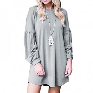 Umeko Womens Dress Long Sleeve Loose Lantern Sleeve Crew Neck Fall Casual Tunic Dresses now 70.0% ..