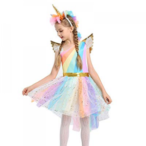 JiaDuo Girls Rainbow Unicorn Costume with Headband Halloween Party Dress Up now 40.0% off