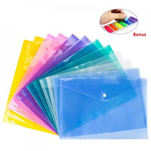 One Day Only!12 Pack Document Folder Copy Safe Project Pocket US Letter/A4 Size in 6 Colors now 50..