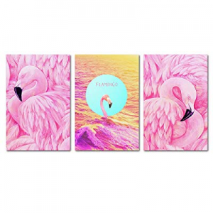 """30.0% off BIL-YOPIN Canvas Wall Art Flamingos Pink Birds Painting 16"""" x 24"""" x 3 Pieces Framed Canv.."""