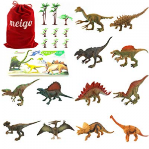 MEIGO Dinosaur Toys - Toddlers 7'' to 8'' Educational Realistic Dinosaur Figures with Dinosaur Boo..