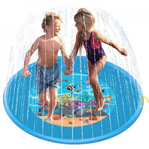 D-FantiX Sprinkler Mat  now 40.0% off , 67in Large Sprinkle and Splash Pad Inflatable Outdoor Wate..