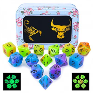 40.0% off Double Color Glowing Polyhedral Dice 2 Set 14pcs Luminous RPG Dice Set d4 d6 d8 d10 d12 ..