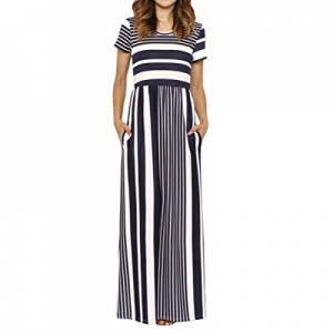 Sherrylily Women Casual Crewneck Striped Maxi Dress Short Sleeeve High Waist Pocket Long Dress now..
