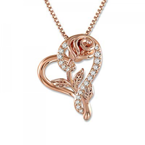 SNZM Rose Necklace for Women 5A Cubic Zirconia Love Heart Pendant Necklace Jewelry with Gift Box n..