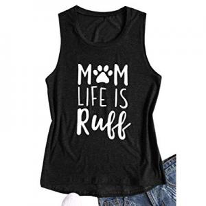 Nulibenna Womens Mom Life is Ruff Tank Tops Funny Dog Paw Crew Neck Sleeveless T Shirts now 50.0% ..