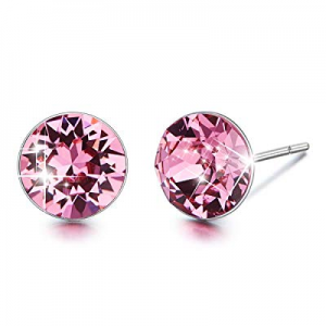 70.0% off CDE 925 Sterling Silver Stud Earrings Circle Embellished with Crystals from Swarovski Fi..