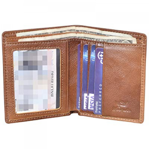 Woogwin Mens Slim Bifold Wallet RFID Thin Front Pocket Wallet Genuine Leather now 70.0% off