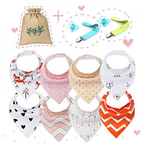 Baby Bandana Drool Bibs Unisex for Boy Girls with Snaps [8-Pack Set] Bandana for Drooling Absorben..