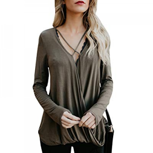 Nulibenna Womens Criss Cross Long Sleeve V Neck Drape Front T Shirt Casual Tunic Blouses now 50.0%..