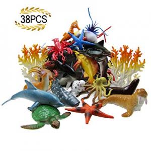 HAFUZIYN Ocean Sea Animal now 40.0% off , Assorted Mini Sea Creatures Toys Set, Realistic Underwat..