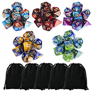 CiaraQ 35 Pieces Polyhedral Dice now 40.0% off , Double-Colors Polyhedral Game Dice with 5 Pack Bl..