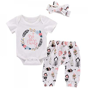 Newborn Baby Girls Isn't She Lovely Summer Outfit Floral Romper Pants Sets with Headband now 40.0%..