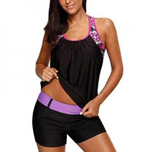 Women's Floral Swimsuits Blouson Push Up Tankini Swim Top No Bottom now 67.0% off