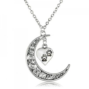 Crescent Moon and Paws Pendant Necklace, 19.5'' Chain, Great Gift for Animal Lovers now 80.0% off