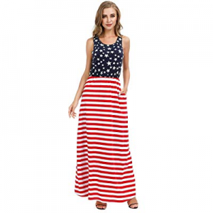 AUDATE Women's 4th of July American Flag Dress Sleeveless Tank Maxi Dress with Pockets now 70.0% o..