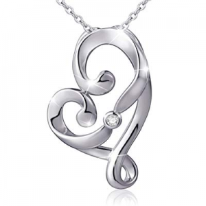 "(Mother and Child's Love) 925 Sterling Silver Infinity Love Knot Pendant Necklace, Rolo Chain 18"" .."