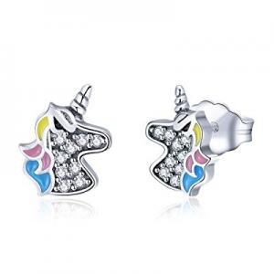 Stud Earrings for Girls Hypoallergenic S925 Sterling Silver with 3A Zircon Unicorn Women Earrings ..