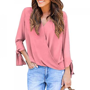 Sidefeel Women Casual Loose Fit Wrap V Neck Chiffon Blouse Shirt now 40.0% off