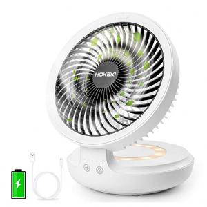 HOKEKI USB Desk Fan with Night Breathing Light @Amazon