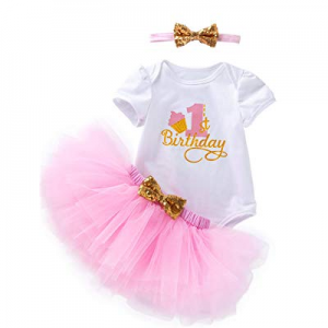 3Pcs Outfit Set Baby Girls One Year Old Birthday Lace Tutu Bodysuit Skirt with Headband now 30.0% ..