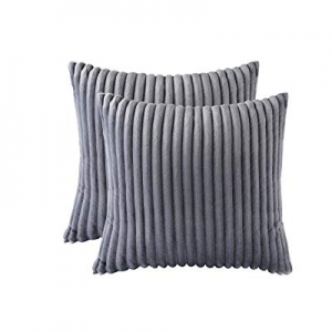 Aosler Soft Plush Flannel Throw Pillow Cover Striped Square Cushion Cover for Sofa Couch Bed Car n..