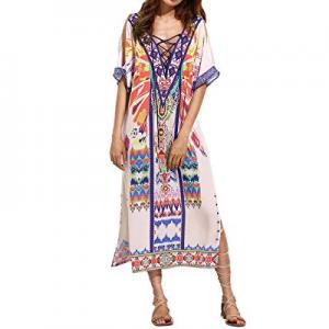 AUDATE Women's V Neck Ethnic Print Caftan Maxi Dress Plus Size Casual Swimsuit Cover Up now 70.0% ..