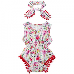 18.0% off UNICOMIDEA Baby Girls Rompers Newborn Sleeveless One-Pieces Jumpsuits Pom Pom Onesie wit..