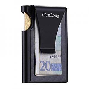 55.0% off iFunLong Slim Front Pocket Wallet Carbon Fibre Aluminum RFID Blocking Credit Card Case H..