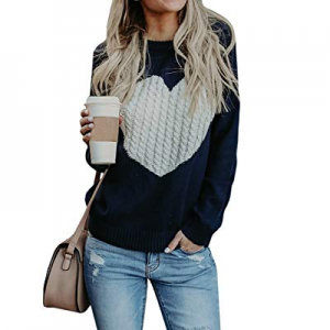 Sherrylily Womens Casual Heart Love Cable Knitted Crewneck Oversized Pullovers Sweaters now 70.0% ..