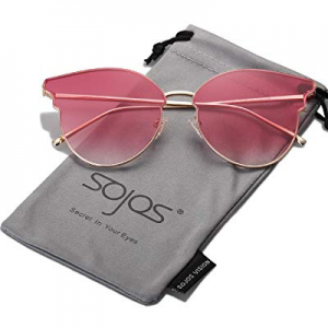 SOJOS Fashion Cateye Women Sunglasses Mirrored Lens Stainless Steel Frame SJ1055 now 70.0% off