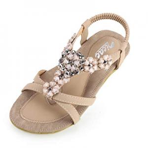 55.0% off Zicac Women's Floral Rhinestone Thong Sandal Clip Toe Low Wedges Shoes Summer Flat Sanda..