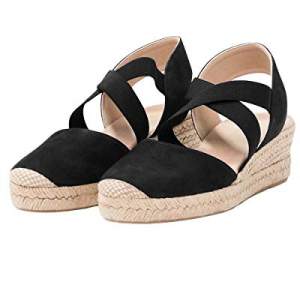 Womens Criss Cross Espadrille Platform Wedge Elastic Strappy Mid Heel Sandals now 20.0% off