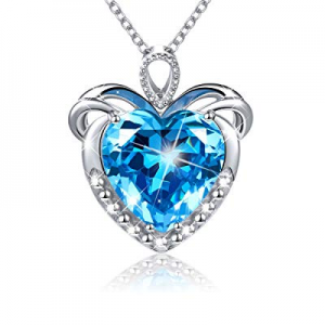 60.0% off JZMSJF Women Birthday Necklace S925 Sterling Silver Blue CZ Necklace I Love You Forever ..