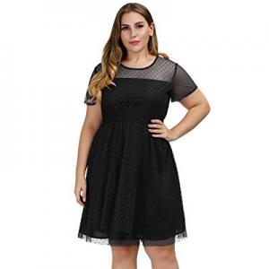 Hanna Nikole Women Plus Size Cocktail Party Dress Polka Dots Mesh Skater Dress now 40.0% off