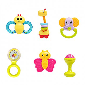 One Day Only!infunbebe Baby Rattles Teether Toy now 50.0% off , Grab, Shaker & Spin Rattle, First ..
