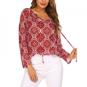 SoTeer Women's Printed Blouse Casual Chiffon V Neck High Low Hem Shirts Tops now 35.0% off
