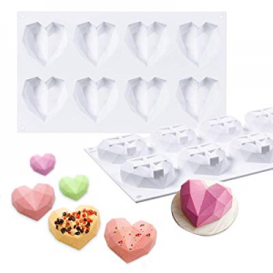 Janolia Heart Shaped Chocolate Molds now 20.0% off , 8 Grids Silicone 3D Diamond Candy Mold Trays,..