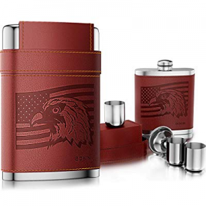 BOKIN Pocket Hip Flask 304 Stainless Steel with Funnel and 3 Cups now 50.0% off ,American Flag Eag..