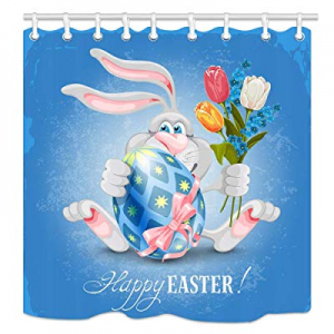 NYMB Easter Bunny Shower Curtain now 60.0% off , Funny Rabbit Ornament in Easter Eggs for Spring F..