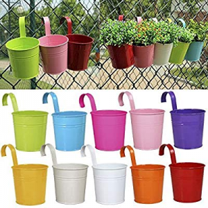 Ogima 10 Piece Metal Iron Hanging Flower Pots, Multicolor now 20.0% off