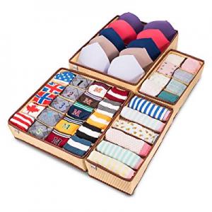 MIU COLOR Closet Underwear Organizer Drawer Divider 4 Set for Underwear now 40.0% off , Bras, Sock..