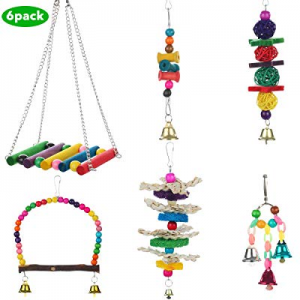37.0% off Bird Toys Parrot Bird Swing Toys with Colorful Wood Beads Bells and Wooden Hammock Hangi..